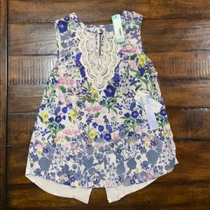 Floral crochet tank new with tags